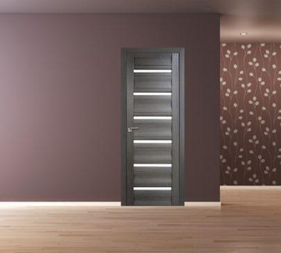 Дверь 57x Грей мелинга, стекло матовое