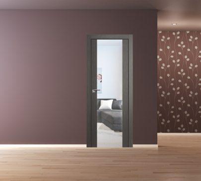 Дверь 8x Грей мелинга, зеркальный триплекс